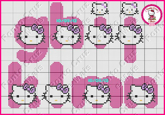 Ponto Cruz e Mais: Monogramas da Hello Kitty - Feitos Por Nós