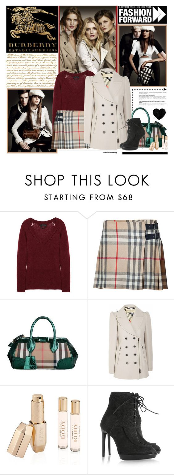 """""""Burberry"""" by kittyfantastica ❤ liked on Polyvore featuring Burberry, mini skirts, checks, burberry, sweaters and lace up boots"""