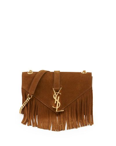 yves saint bag - Yves Saint Laurent Monogram Suede Fringe Shoulder Bag, Women's ...