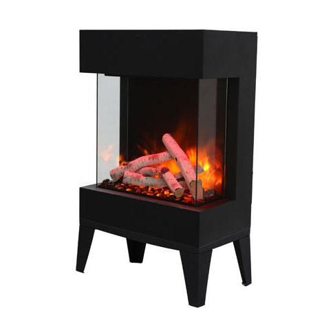 Amantii Cube 20 Inch Three Sided Freestanding Electric Fireplace W Leg Base Indoor Outdoor Cube 2025wm Bbqguys Glass Fireplace Electric Fireplace Free Standing Electric Fireplace