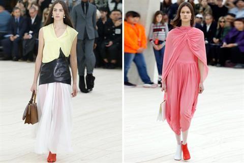 Gigi Hadid anticipa las tendencias del París Fashion Week  La pasarela estaba montada sobre un pabellón de vidrio y acero que generaba una imagen caleidoscópica del desfile Foto:AFP