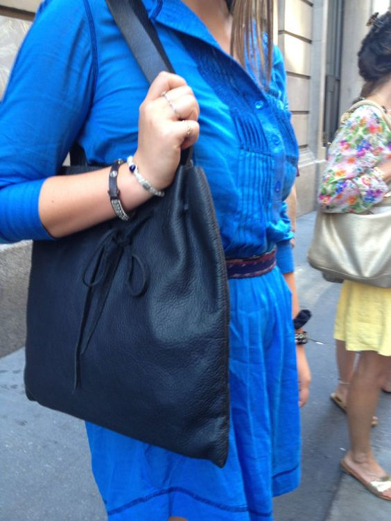 Slouchy leather tote - black soft pliable full grain leather handmade in N.Y. hand stitched by Aixa