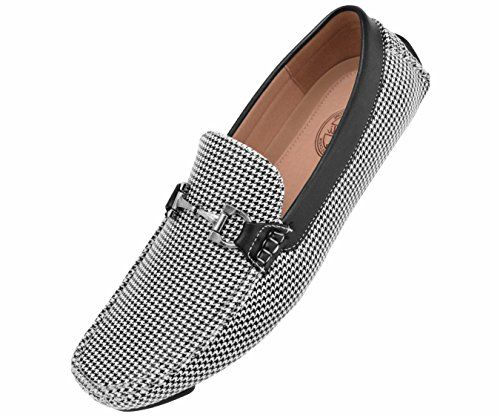 Amali Men's Casual Driving Moccasin Loafer in Black and White Printed Houndstooth