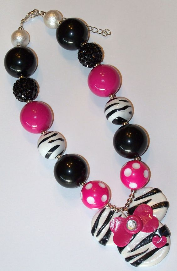 Mickey Mouse Zebra Hot Pink Polka Dot Chunky Big Beads- Bubblegum Beads Necklace