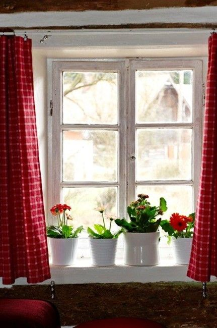 Curtains flower red curtains flower pots cottage windows country red