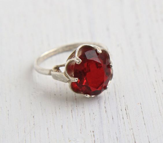 Red Glass Stone : Red glass ruby and stone rings on pinterest