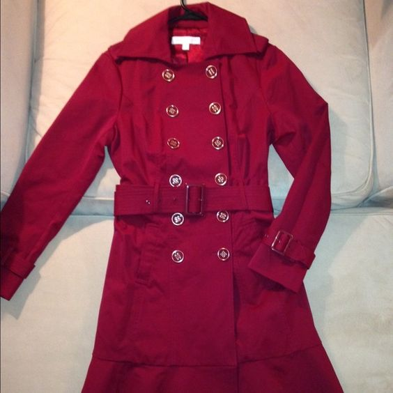 Red New York & Co pea coat Gorgeous red pea coat with gold accent buttons and a flared bottom. Great condition, only worn a handful of times!  Cotton / Nylon / Spandex. Spare button included. New York & Company Jackets & Coats Pea Coats