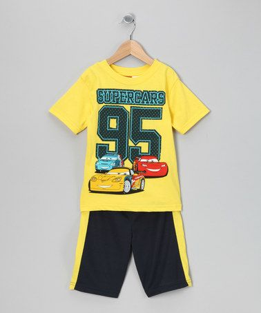 Take a look at this Yellow 'Super Cars' Tee & Shorts - Boys by Penguin Kids on #zulily today!