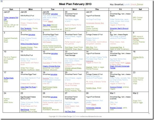 This lady makes a monthly meal plan each month with breakfast, lunch, dinner, and snacks.  Even includes links to some of the recipes used.  Very helpful!