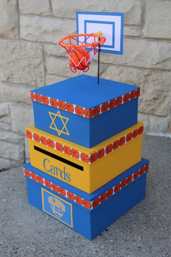 Custom Card Box Bar Mitzvah Boys Birthday 3 Tier by aSignofJoy