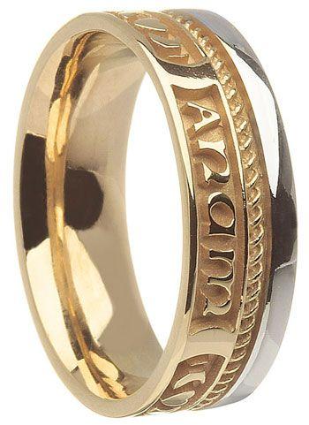 Two Tone 14k Gold Mo Anam Cara Wedding Ring Claddagh