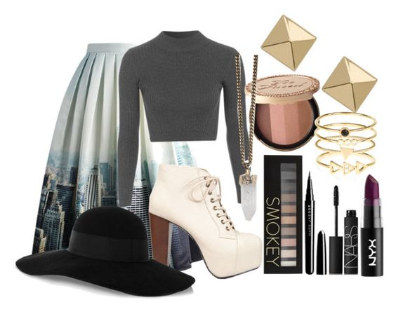 """New York City's skyline"" by golden-roses ❤ liked on Polyvore featuring Chicwish, Topshop, Speed Limit 98, Forever 21, Marc Jacobs, NARS Cosmetics, Givenchy, Palm Beach Jewelry, Accessorize and Eugenia Kim"