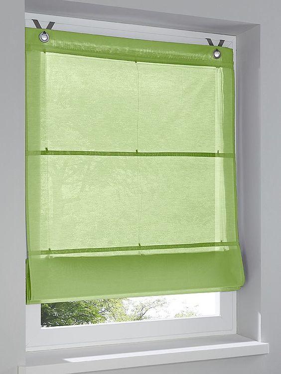 Unifarbener Stoff. Mit schöner Blende. Einfache Montage, zum Einhängen in den Fensterrahmen. Einfache Montage, zum Einhängen in den Fensterrahmen....