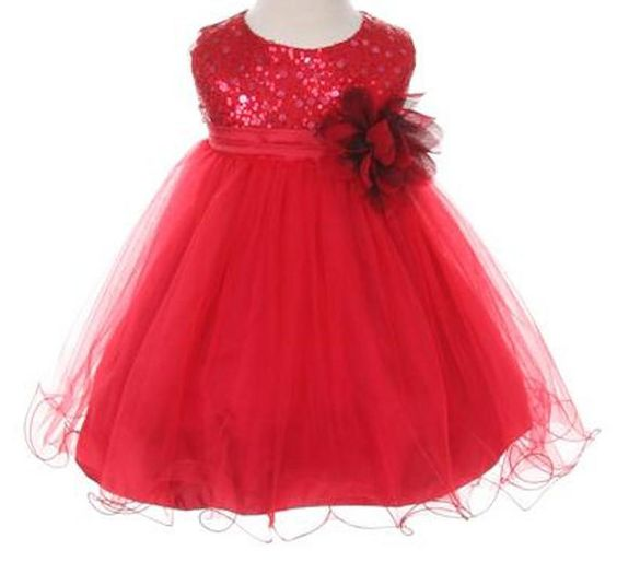 Red Christmas Baby Girl Sequined Glitter Shiny Tulle Princess ...
