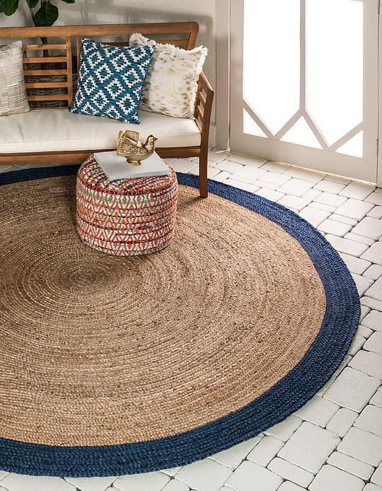 Natural Braided Jute Area Rug Circular Rugs Room Rugs Rugs In
