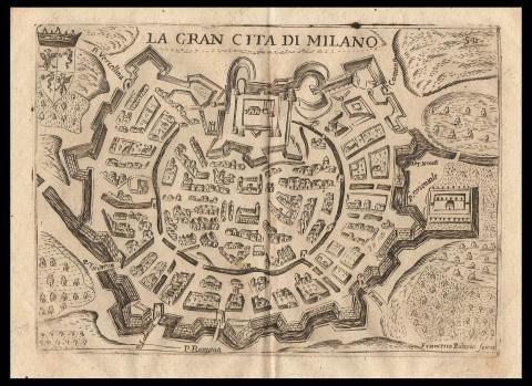 Milano pianta prospettica scoto andrea vedute for Stampe di baite