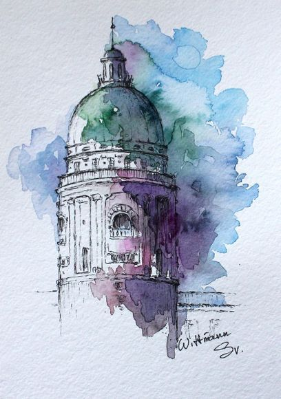 Watercolor City Architecture Art Original Aquarelle Painting