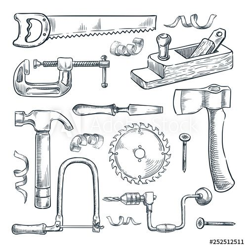 Woodwork And Carpentry Tools Set Vector Sketch Illustration Wood Material And Furniture Industry Design Carpentry Tools Vintage Graphic Design Mechanical Art