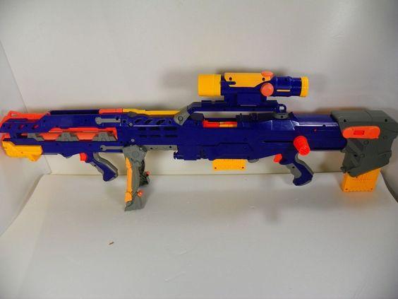 Nerf N-Strike Longshot CS-6 Scope COMPLETE GUN RARE Blue ...