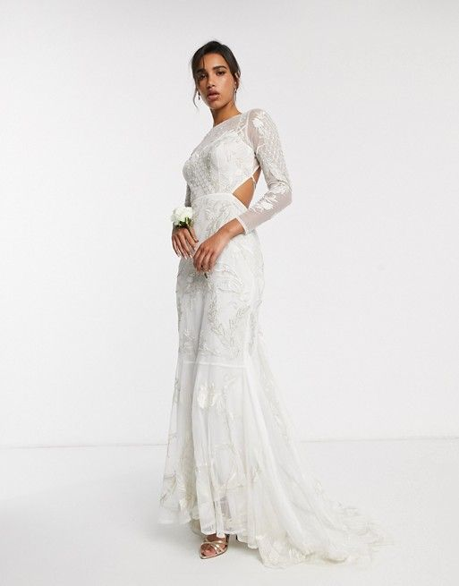 Asos Edition Embroidered Embellished Fishtail Wedding Dress Asos In 2020 Fishtail Wedding Dress Asos Wedding Dress Wedding Dresses