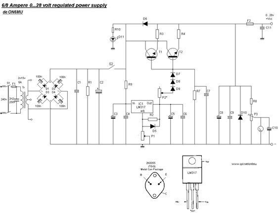 0 28v 6 8a Power Supply Lm317 2n3055 Power Supply Power Supply Circuit Electronic Circuit Projects