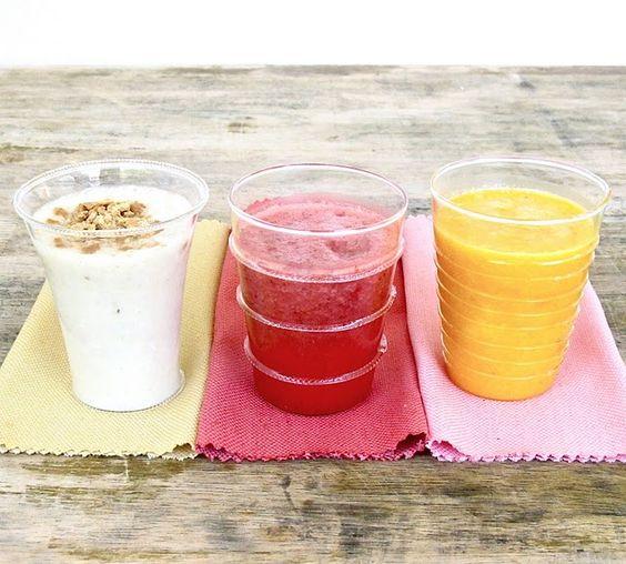 strawberry smoothie/mango smoothie/ banana smoothie.