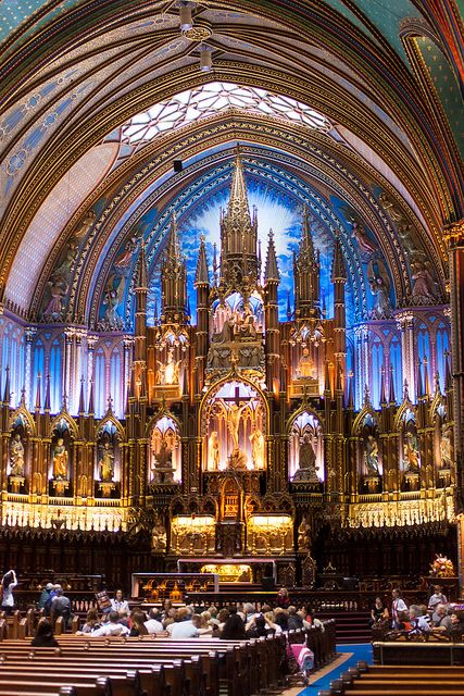 """""""Basilique Notre-Dame de Montréal"""" is a basilica in the historic district of Old Montreal, in Montreal, Quebec ( my 2010 trip, photo by Hansol Kim )"""