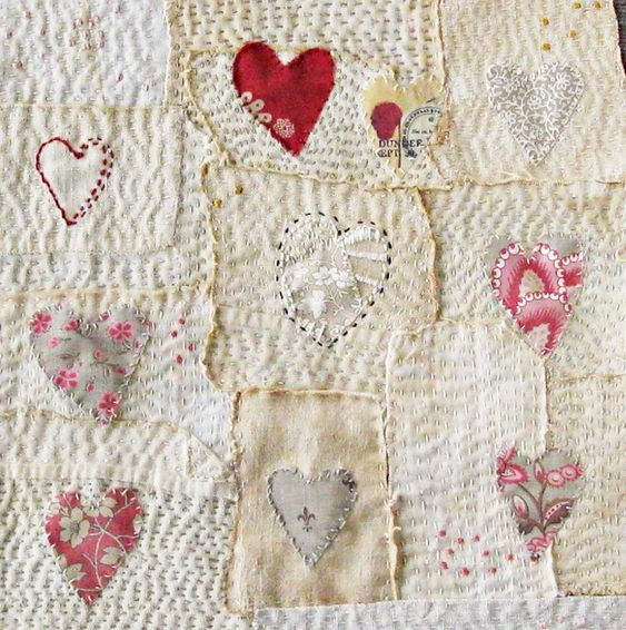 Art quilt, patchwork, embroidered, stitched cloth, Hearts: