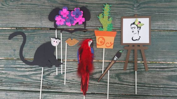 Check out this item in my Etsy shop https://www.etsy.com/listing/236316302/frida-kahlo-custom-photo-booth-props