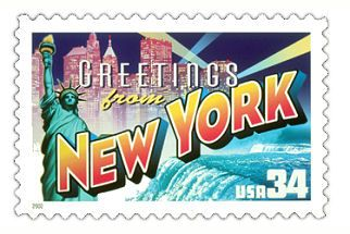 The New York State Postage Stamp  Depicted above is the New York state 34 cent stamp from the Greetings From America commemorative stamp series. The United States Postal Service released this stamp on April 4, 2002. The retro design of this stamp resembles the large letter postcards that were popular with tourists in the 1930's and 1940's.
