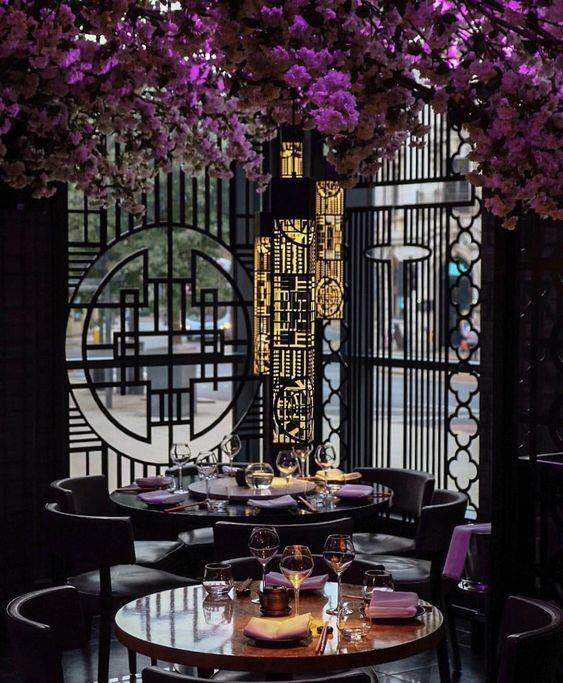Tattu Restaurant And Bar In Manchester Stunning Decor With A Cherry Blossom Tree In Restaurant Interior Design Luxury Restaurant Japanese Restaurant Interior