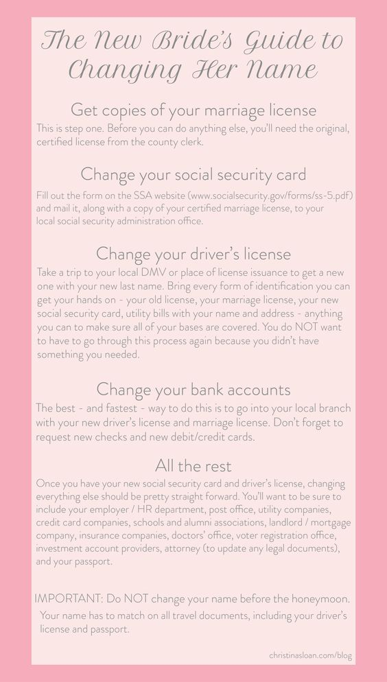 Name Change Checklist, passport, official, name, birth certificate - social security name change form