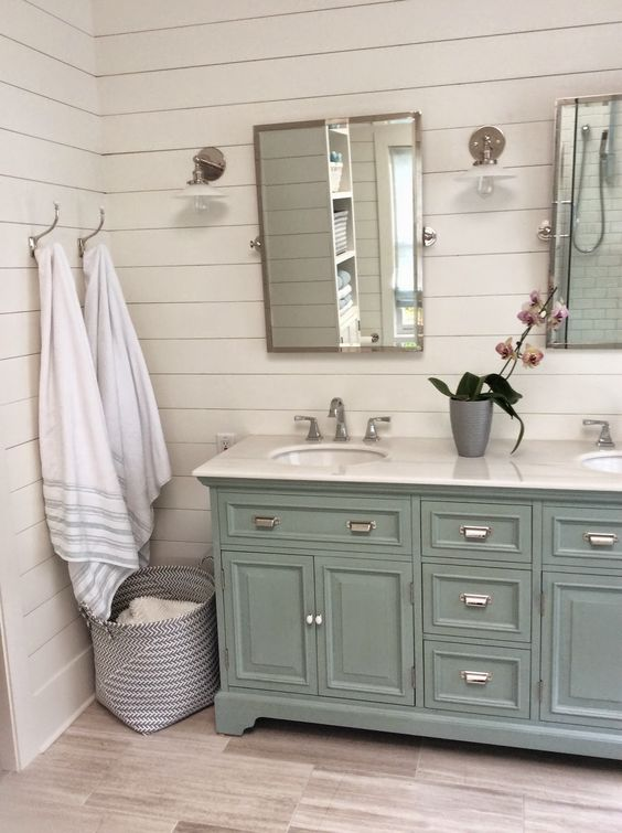 Bathroom cabinets in blue COTTAGE AND VINE: Friday Link