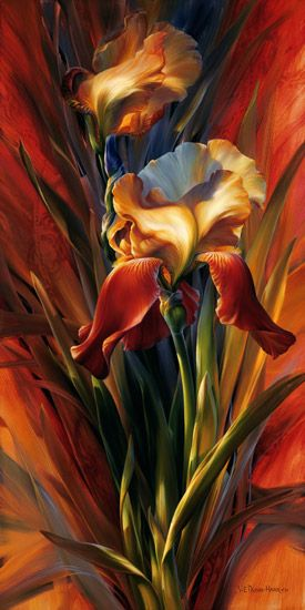 "by Vie Dunn-Harr who considers herself a contemporary realist painter and has said: "" I have observed that a flower, like a woman, is a delicate creation. Yet they each have strengths that enable them to prevail over adversity"".:"
