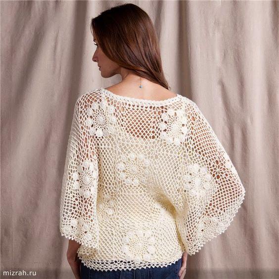 Letras e Artes da Lalá: Blusas de crochê, sem receitas (By: pinterest.com)