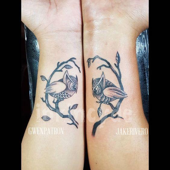 Couple tattoo. #tattoo #tattooph #tattoos #tattedlife #tattooart #tattooist #tattooartist #inkincydeph #inkincydetattoostudio #inkincydecdo #inkincyde #ink #inked #coupletattoo #coupletattoos #coupletats #inkedup #inkedgirls #owl #owltattoo #owltattoos