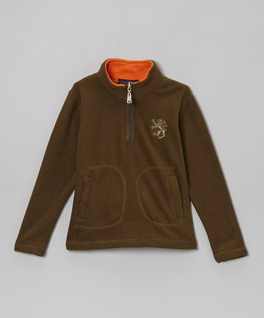 Look what I found on #zulily! Khaki & Orange Fleece Pullover - Toddler & Boys #zulilyfinds