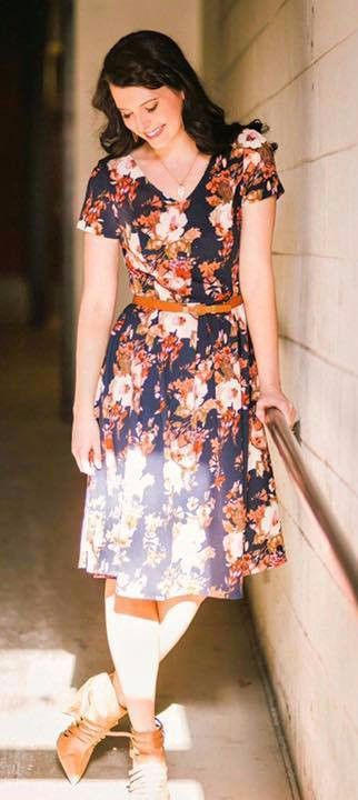modest floral knee length navy dress