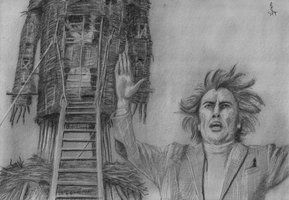 Lord Summerisle sacrifices Sergeant Howie in 'The Wicker Man'. Freehand sketch using HB, 6B pencils and eraser. Darkened digitally.