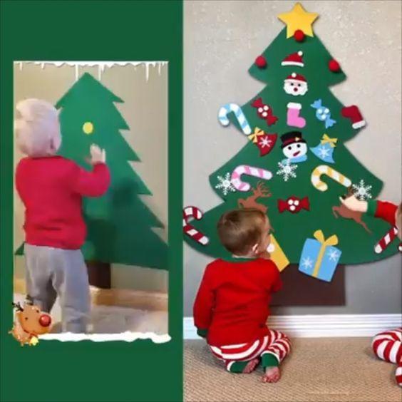 Diy Felt Christmas Tree Best Gift For Children Diy Felt Christmas Tree Preschool Christmas Christmas Trees For Kids