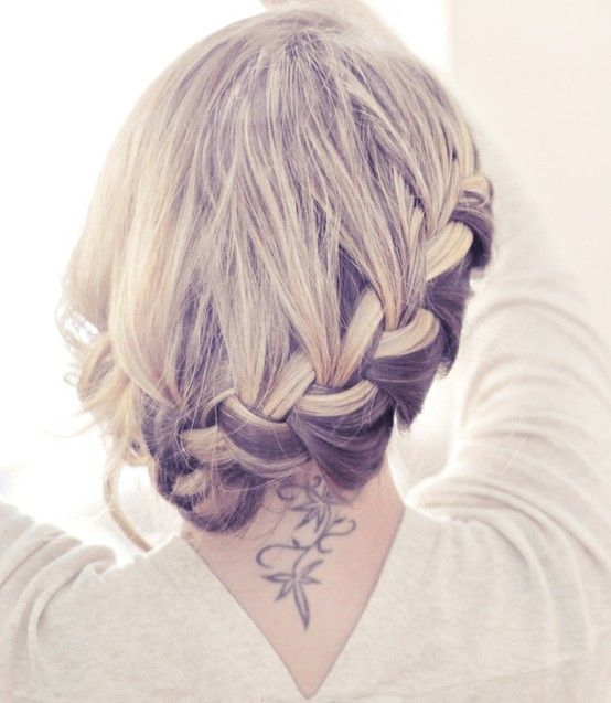 Side french braid low updo