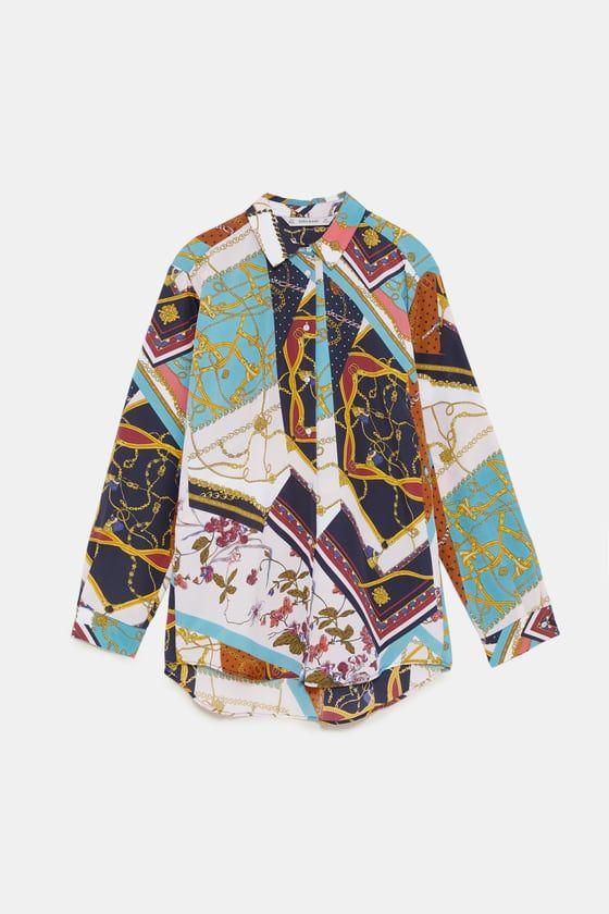 Bluza S Printom Cepochki V Stile Pechvork Zara Bluse Und Inste