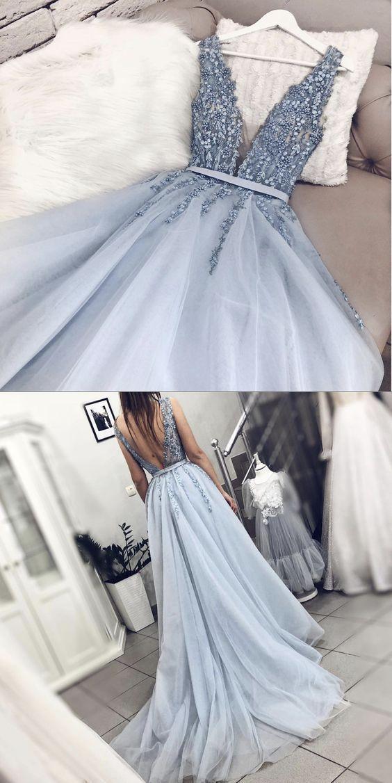 Fairy V Neck Backless Light Blue Appliques Long Prom Dresses