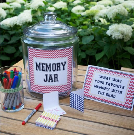 This is so sweet! Have everyone write their favorite memory with the graduate and put it in the memory jar! When it's your first day to go to college read them all or read them the night before :)