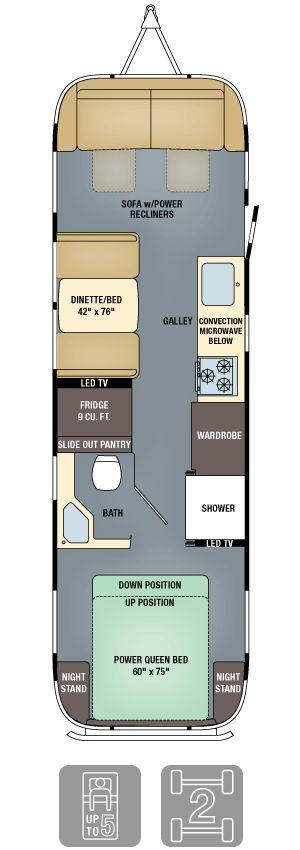 Planta baixa de um trailer considerado de luxo chamado Airstream, com 2m57 de largura e cerca de 23m²