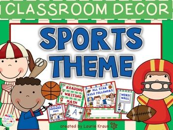 This sports themed decor will enhance your room and make it an inviting place for your students.  Welcome back to school your students and parents with this adorable sports themed classroom decorations with certificates, nameplates, posters, subject headings, homework and lunch bunch passes, desk fairy notices, birthday decor, monthly headings, word wall letters, hall passes, and more.