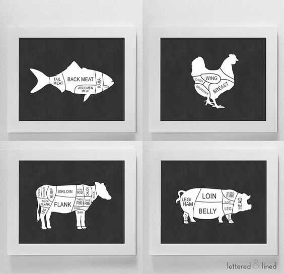 SET OF FOUR Butchers Selection Prints  Kitchen by letteredandlined