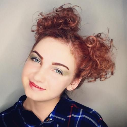 Pigtail Buns For Short Curly Hair Braids For Short Hair Pigtail Hairstyles Ombre Curly Hair