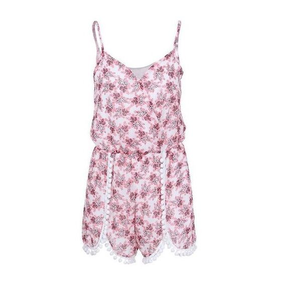 Elastic Waist Spaghetti Strap Printed Romper ($23) ❤ liked on Polyvore featuring jumpsuits, rompers, multi color, floral rompers, colorful rompers, playsuit romper, sleeveless rompers and long-sleeve rompers
