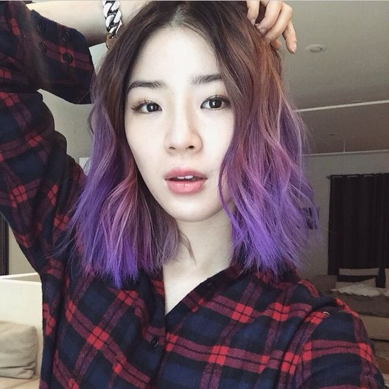 irene kim and her beautiful hairstyle longbob purplehair